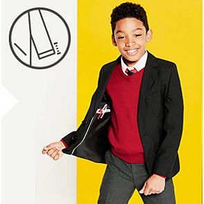 Boy wears black school blazer