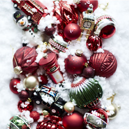 Red Silver And Green Christmas Baubles On Snowy Backdrop