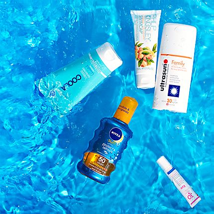 Sunscreens submerged in water