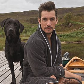 David Gandy wearing a robe