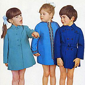 1960s children in blue coats