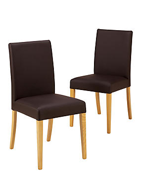 2 Tromso Faux Leather Dining Chairs