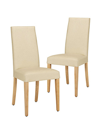 Marks And Spencer 2 Alton Plain Leather Dining Chairs