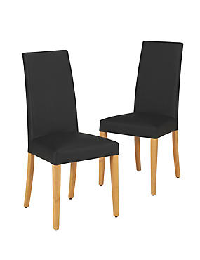 2 Alton Leather Natural Legs Dining Chairs
