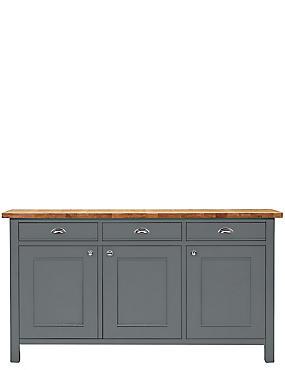 Padstow 3 Door Sideboard Grey, , catlanding