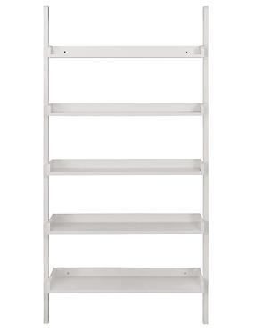 Wide Ladder Shelving, WHITE, catlanding