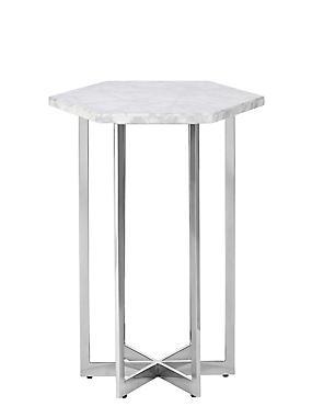 Ava White Marble Side Table, , catlanding