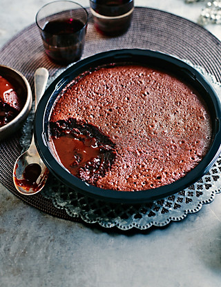 Large Hot Chocolate Fudge Pudding Food