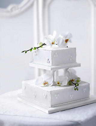 Contemporary Pearl Wedding Fruit Cake - 2 Tier Cakes