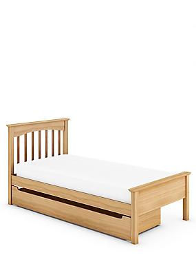 Hastings Light Natural Storage Bed Stead, , catlanding