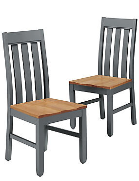 Set of 2 Padstow Grey Dining Chairs, , catlanding