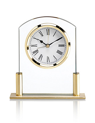 Mini Glass Mantel Clock with Alarm Home