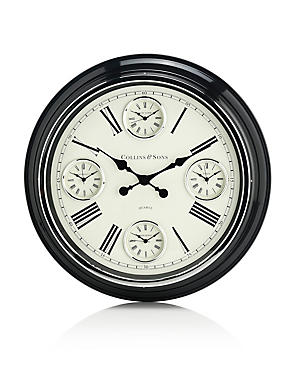 Large 4 Dial Wall Clock