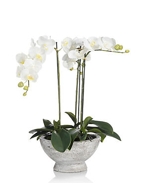 Artificial Large Orchid in Ceramic Jar