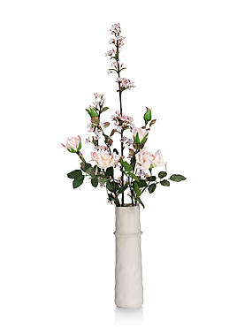 Artificial Cherry Blossom & Rose in Ceramic Vase