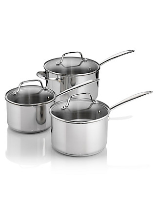 3 Piece Stainless Steel Saucepan Set Home