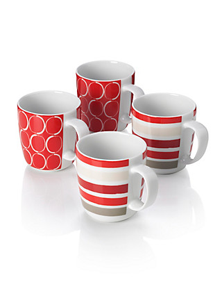 4 Modern Assorted Design Mugs Home