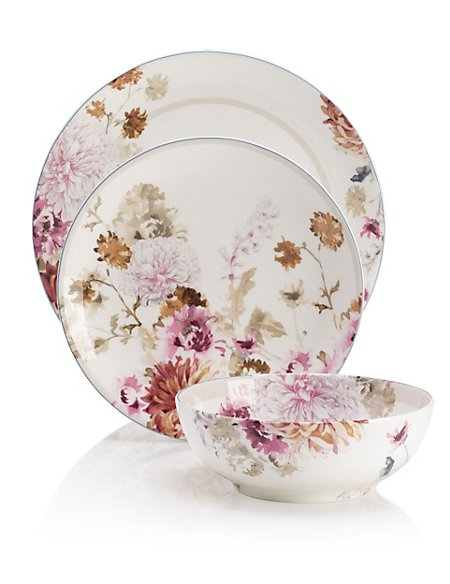 12 Piece Painterly Floral Dinner Set
