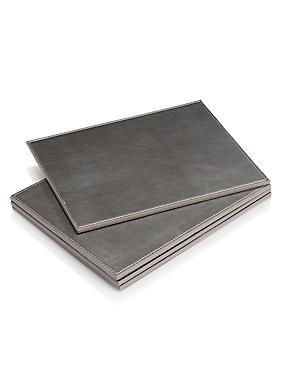 4 Faux Leather Coated Metallic Coasters