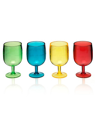 4 Stacking Acrylic Wine Glasses Home