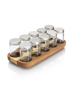 10 Acacia Bottle Spice Rack
