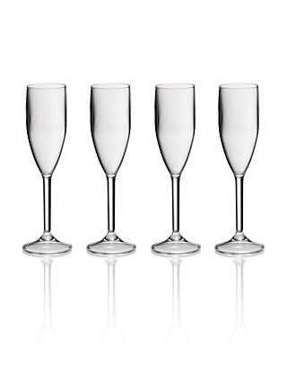 4 Acrylic Flute Glasses Home