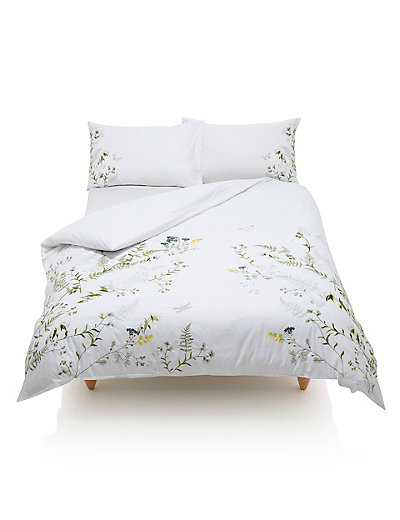 botanical embroidered bedding set m s. Black Bedroom Furniture Sets. Home Design Ideas