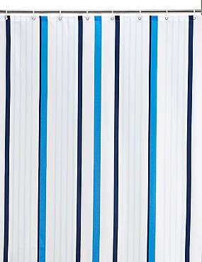 Thin Stripe Nautical Shower Curtains, BLUE MIX, catlanding