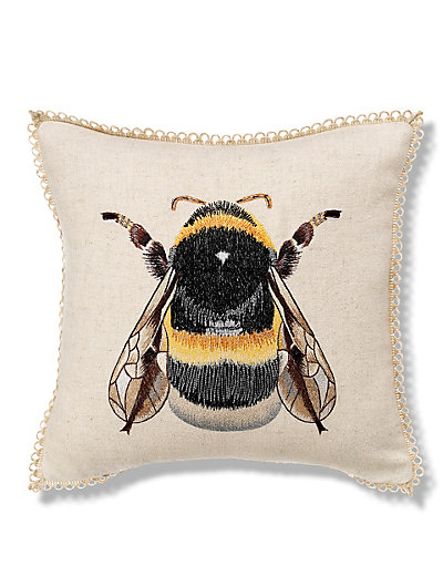 Bumblebee embroidered cushion m s