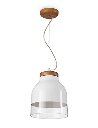 Conran Tall Oak & Glass Ceiling Pendant Home