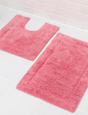Pure Egyptian Cotton Bath Mat & Pedestal Mats