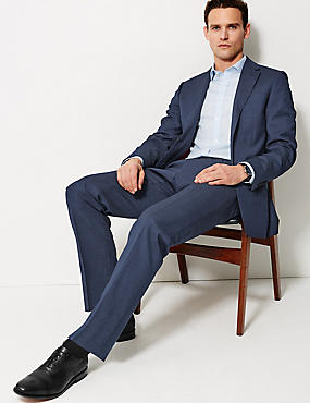 Navy Regular Fit Wool Suit