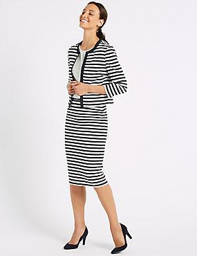 Striped Blazer & Pencil Skirt Suit Set , , catlanding