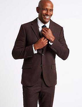 Burgundy Textured Tailored Fit Suit, , catlanding