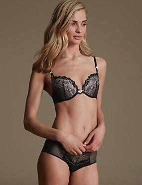 Penelope Lace Set with Padded Push-Up Plunge A-DD