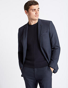 Blue Textured Slim Fit Suit, , catlanding