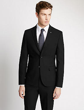 Black Textured Modern Slim Suit