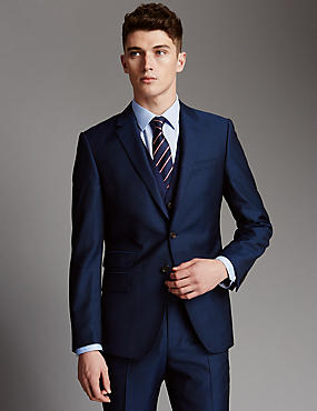 Blue Slim Fit Wool Suit