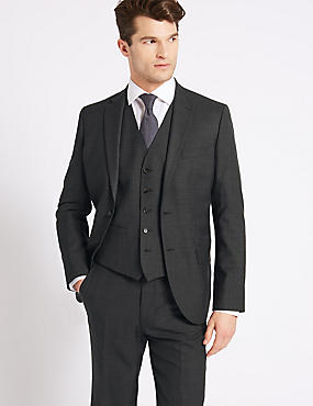 Grey Textured Tailored Fit 3 Piece Suit, , catlanding