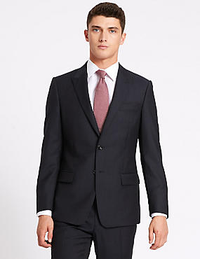 Navy Herringbone Slim Fit Wool Suit