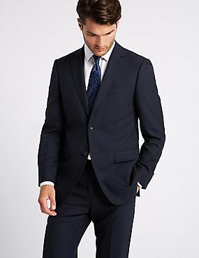 Navy Regular Fit Wool Suit, , catlanding