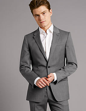 Grey Slim Fit Italian Wool Suit, , catlanding