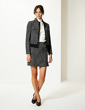 Wool Blend Textured Blazer & Skirt Suit Set, , catlanding