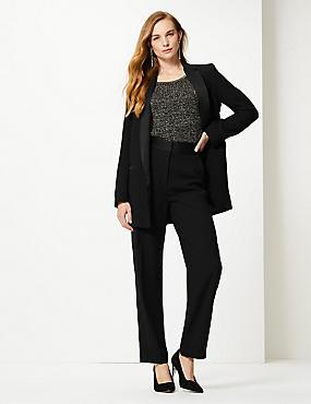 Blazer & Straight Leg Trousers Suit Set, , catlanding