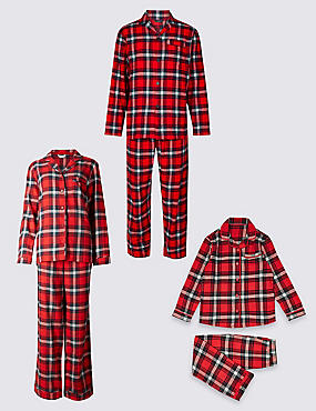 Checked Christmas Matching Family Pyjamas, , catlanding