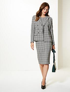Checked Bodycon Dress & Blazer Suit Set , , catlanding