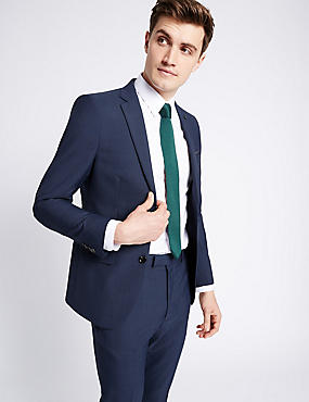 Blue Textured Modern Slim Fit Suit