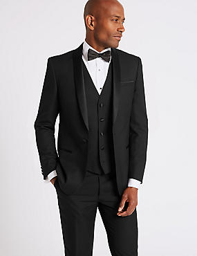Black Slim Fit 3 Piece Tuxedo Suit, , catlanding