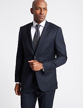Navy Checked Slim Fit Wool Suit