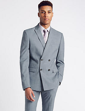 Blue Modern Slim Fit Double Breasted Suit, , catlanding
